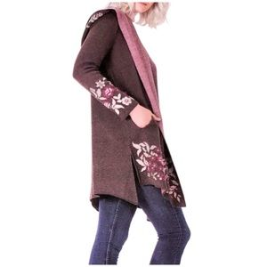 NWT Maxsport Knit Embroidered Cardigan with Hood